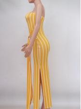 Stylish Striped Tie-Wrap Strapless Maxi Dress