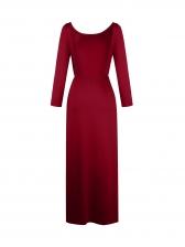 Backless High Split Hem Solid Long Sleeve Prom Dress