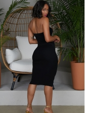 Sexy Solid Strapless Bodycon Dress