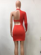 Hollow Out Solid Irregular Long Sleeve Short Dress