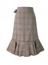 Vintage Plaid High Waist Ruffle Skirts For Women