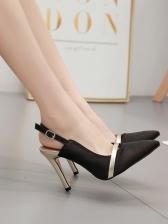 Patchwork Pointed Slingback Ladies Stiletto Heels
