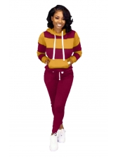 Striped Long Sleeve Hooded Two Piece Pants Set