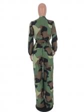 Camouflage Long Sleeve Wide Leg Jumpsuit