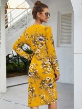 V Neck Smart Waist Long Sleeve Floral Dress