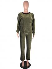 Glitter Long Sleeve Casual 2 Piece Pants Set