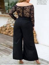Off Shoulder Lace Panel High Split Wide Leg Jumpsuit