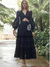 V Neck Lantern Sleeve Lace Two Piece Maxi Skirt Set