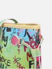 Creative Letter Graffiti Iridescent Large Tote Handbags