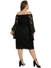 Euro Flare Sleeve Plus Size Lace Dress