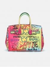 New Arrival Gradient Rainbow Color Letter Graffiti Handbags