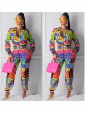 Multicolored Printed Long Sleeve Two Piece Sets