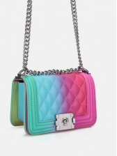 Gradual Candy Color Rhombus Rectangle Chain Bags