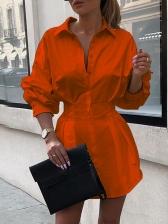 OL Style Slim Fit Printed Ladies Shirt Sleeve Dress