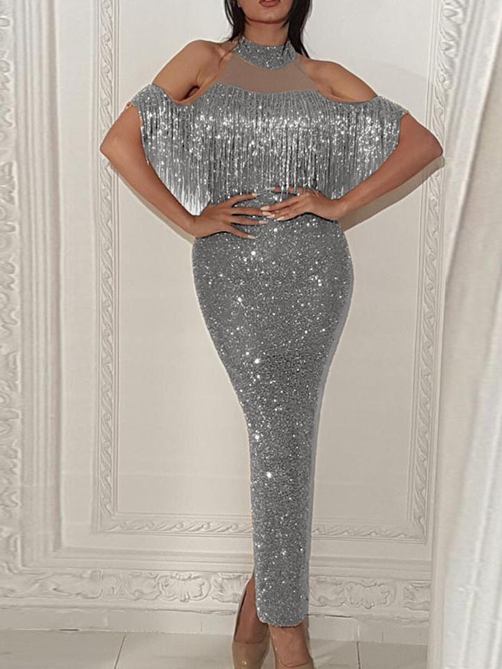 Sequined Tassel Off Shoulder Party Maxi Dress