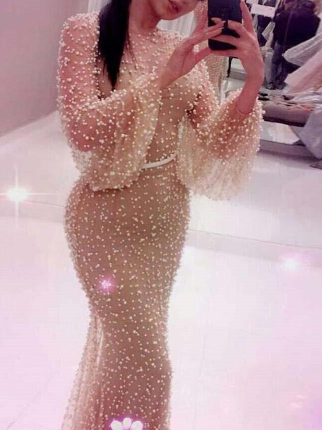 Dot Perspective Lantern Sleeve Maxi Dress