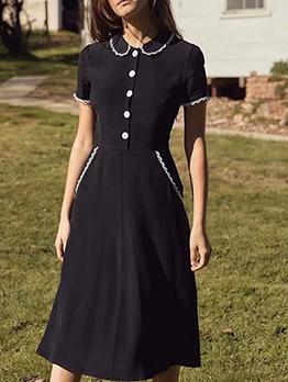Lace Doll Neck Cute Short Sleeve Dress