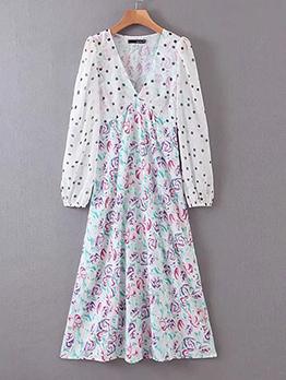 Dot Casual V Neck Long Sleeve Floral Dress
