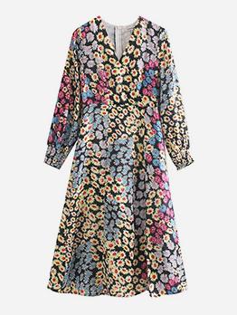 Lantern Sleeve Floral Long Sleeve Dress
