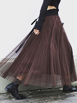 Elastic Waist Gauze Patchwork Tulle Skirt