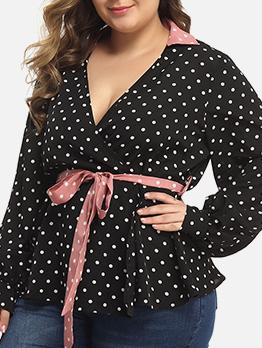 v Neck Polka Dots Tie-Wrap Plus Size Top