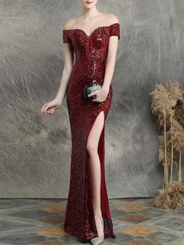 Off Shoulder Split Tassel Short Sleeve Maxi Dress