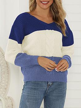 Euro Contrast Color Striped V Neck Sweater