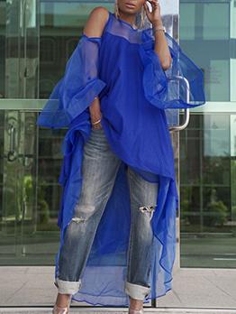 Irregular Patchwork Off Shoulder Long Sleeve Shirt Dress