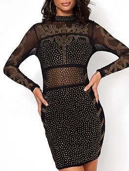 Stand Collar Rhinestone Black Long Sleeve Dress