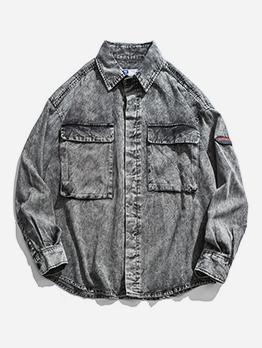 Vintage Turndown Collar Washed Long Sleeve Shirts