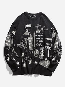 Cartoon Pattern Crew Neck Sweater