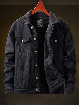 Punk Style Black Denim Jacket Men
