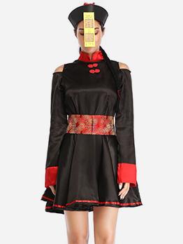 Off Shoulder Chinese Corpse Vampire Halloween Costume