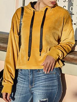 Solid Long Sleeve Velvet Pullover Hoodie