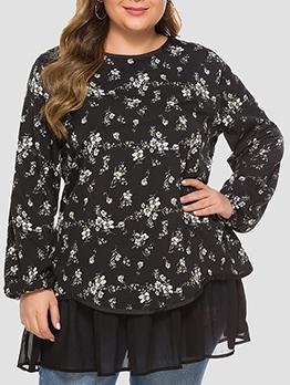 Floral Patchwork Plus Size Long Sleeve Short Dress