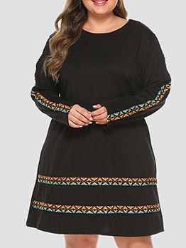 Ethnic Style Weave Long Sleeve Plus Size Dress