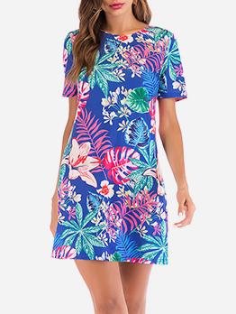 A Line Backless Printed Short Sleeve Dress