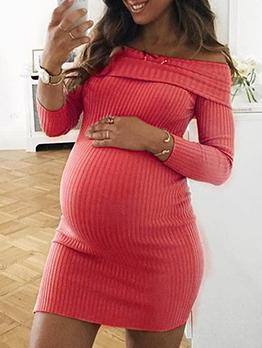 Solid Off Shoulder Long Sleeve Maternity Dress