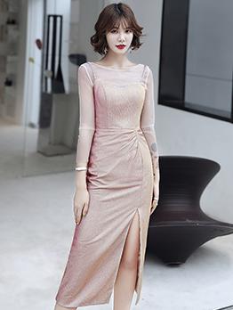 Glitter Split Long Sleeve Sexy Maxi Dresses
