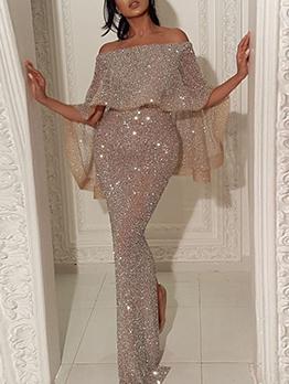 Glitter Split Off Shoulder Maxi Occasion Dresses