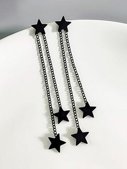 Dark Tassels Star Pattern Women Earrings