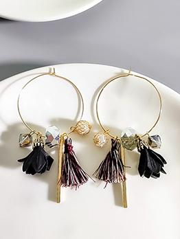 Individual Pearl Tassels Hoop Earrings