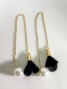 Elegant Pearl Heart Tassels Drop Earrings