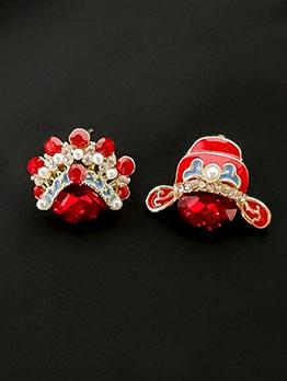 Retro Rhinestone And Pearl Stud Earrings
