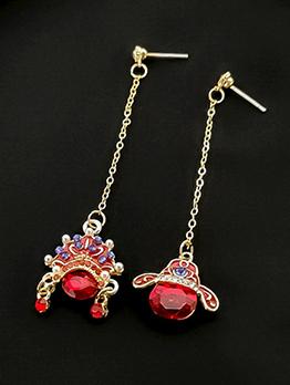 Peking Opera Make Ups Pattern Tassel Earrings