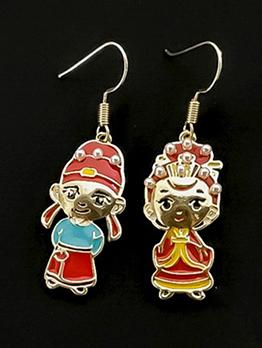 Chinese Figure Pearl Decor Earrings For Women