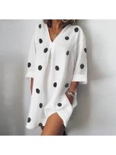 V Neck Polka Dots Long Sleeve Dress