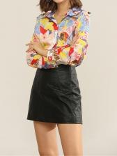 Contrast Color Floral Long Sleeve Blouse