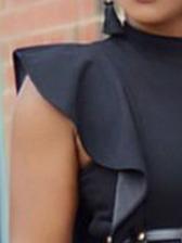Ruffle Hem Wide Wig Ladies Black Jumpsuit