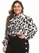 Lantern Sleeve Leopard Plus Size Tie Neck Blouse